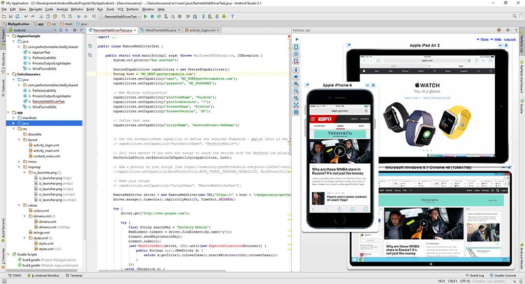 Android Studio   Perfecto